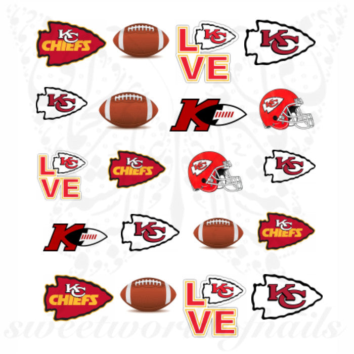 Kansas City Chiefs Nails NFL Football Water Decals