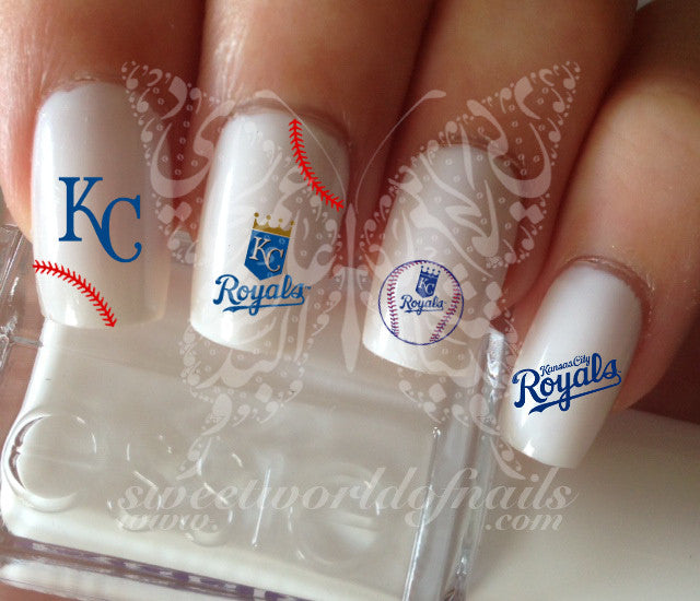 Kansas City Royals Baseball Nail Art Water Decals Nail Transfers Wraps