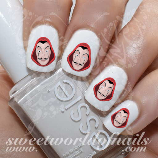 La Casa De Papel Nails Dali Mask Money Heist Water Decals