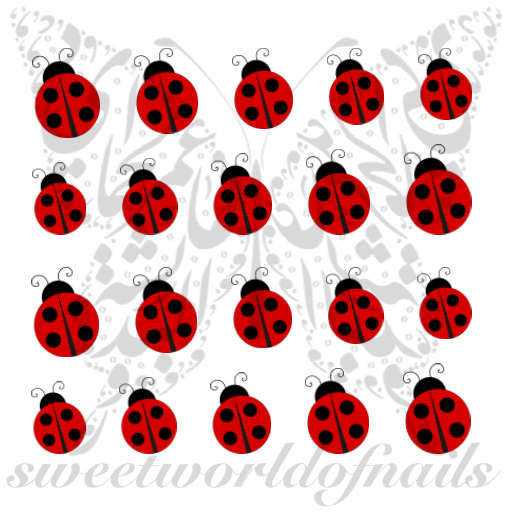 Ladybug Nail Art Nail Water Decals Slides