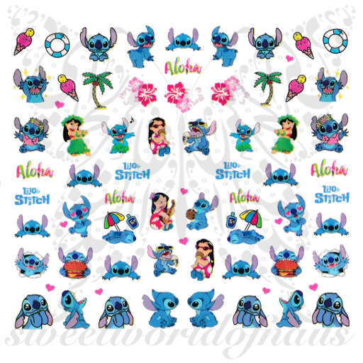 Lilo and Stitch Nail Art Nail Water Decals
