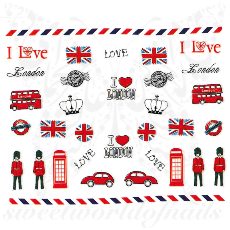 London Love Nails England Nail Stickers