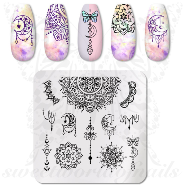 Mandala Nail Art Stamping Plate Moon Nails