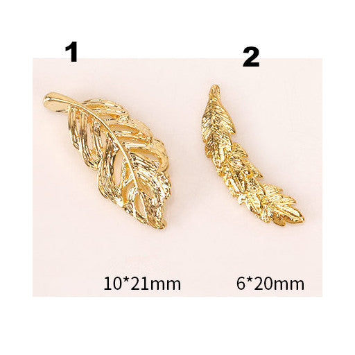 3D Gold Feather Nail Art Decoration Charm