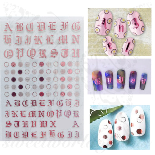 Metallic Old English Font Letters Nail Stickers