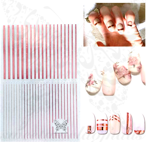 Metallic Pink Lines Nail Art Nail Stickers