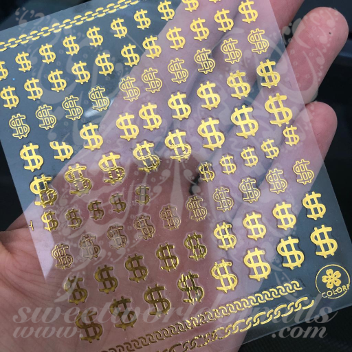 Money Dollar Sign Gold Nail Stickers