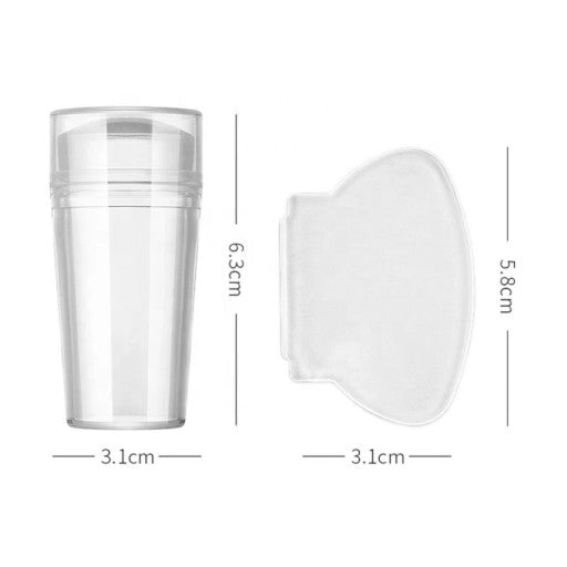 Clear Round Jelly Nail Art Stamper with Cap & Scraper  /1 set