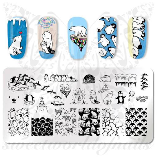 Polar Bear Penguins Nail Art Stamping Plate