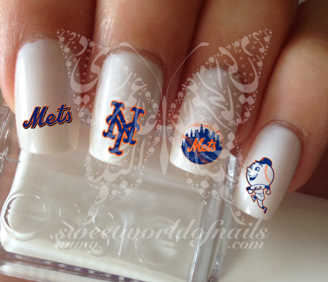 New York Mets Baseball Nail Art Water Decals Nail Transfers Wraps