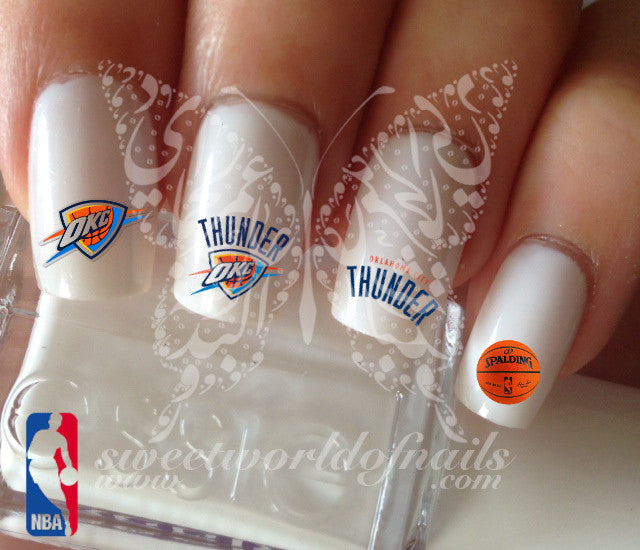 Oklahoma City Thunder NBA Basketball Nail Art Water Decals Nail Transfers Wraps