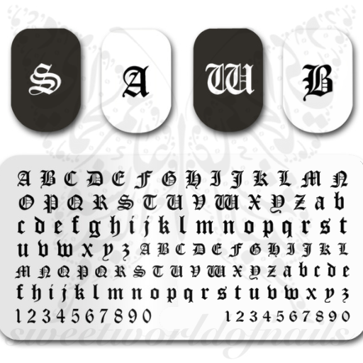 Old English Font Nail Art Stamping Plate