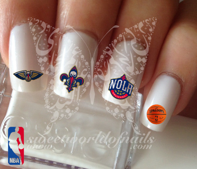 New Orleans Pelicans NBA Basketball Nail Art Water Decals Nail Transfers Wraps