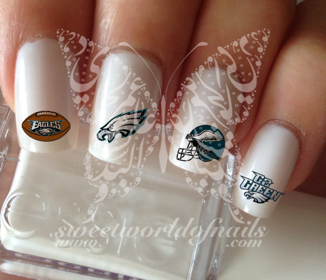 Philadelphia Eagles Football Nail Art Water Decals Nail Transfers Wraps