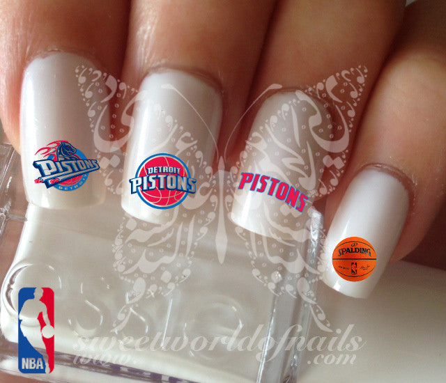 Detroit Pistons NBA Basketball Nail Art Water Decals Nail Transfers Wraps
