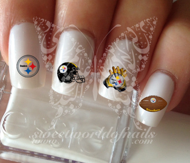 Pittsburgh Steelers Football Nail Art Water Decals Nail Transfers Wrap
