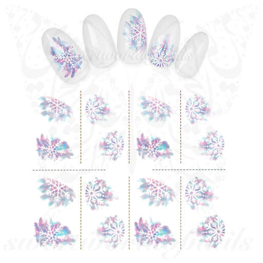 Christmas Nails Purple White Snowflakes Water Decals