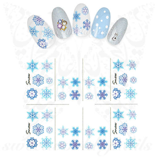 Christmas Nails Purple Blue Snowflakes Water Decals