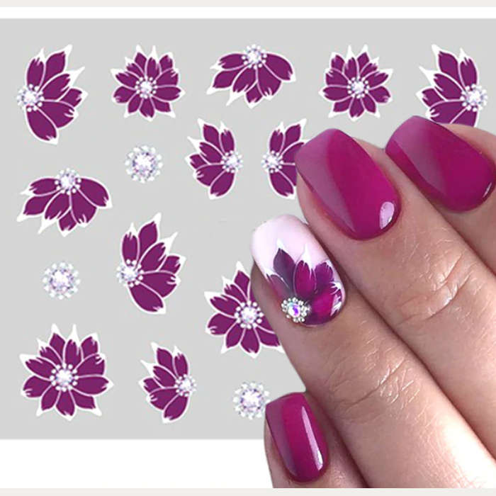 Purple White Flowers Nail Water Decals