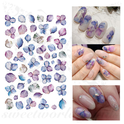 Purple Flower Nail Art Nail Stickers