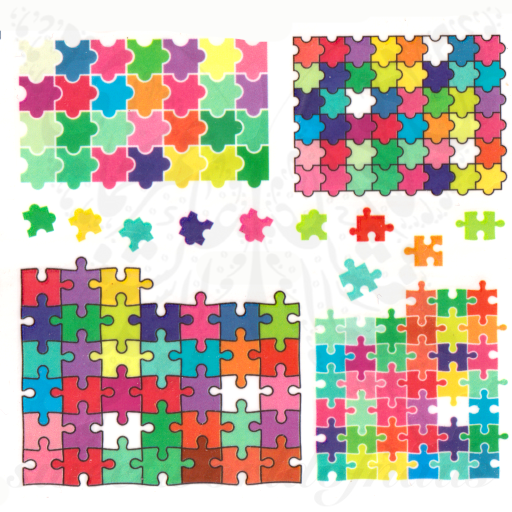 Puzzle Nail Art colorful puzzle pieces Autism Water Decals