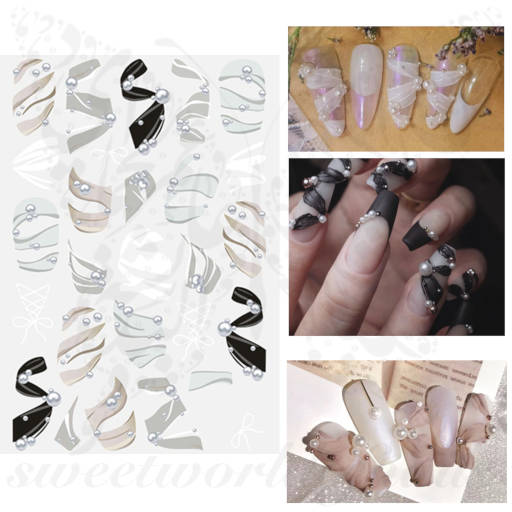 Ribbon Pearls Nail Stickers