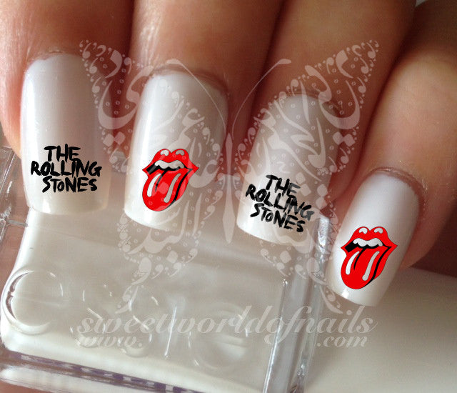 The rolling stones water decals transfers wraps nail art