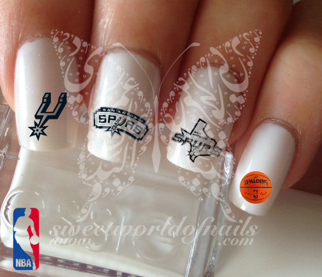San Antonio Spurs NBA Basketball Nail Art Water Decals Nail Transfers Wraps