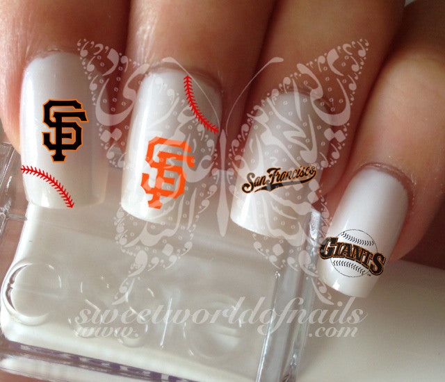 San Francisco Giants Baseball Nail Art Water Decals Nail Transfers Wra