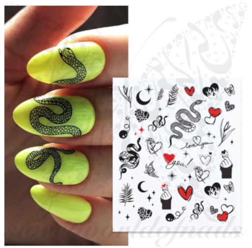 Snake Heart Nail Art Water Decals