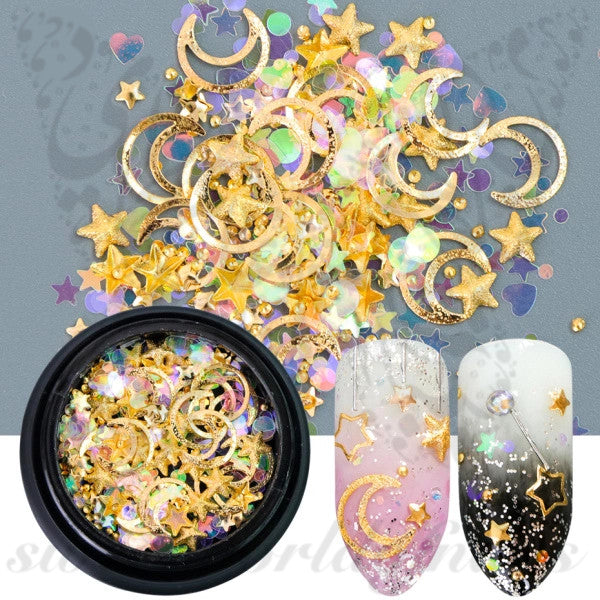 3D Gold Moon Star Nail Art Decoration Mix
