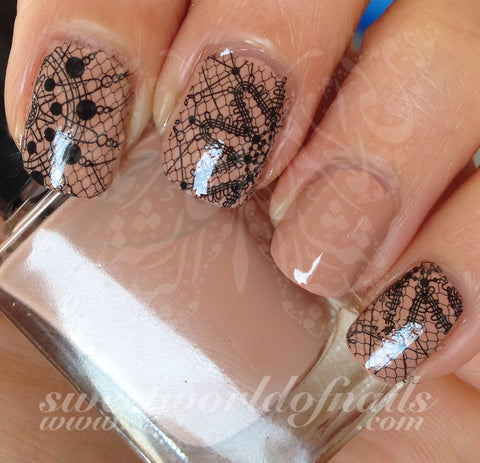 Black Lace Nail Art Water Decals Transfers