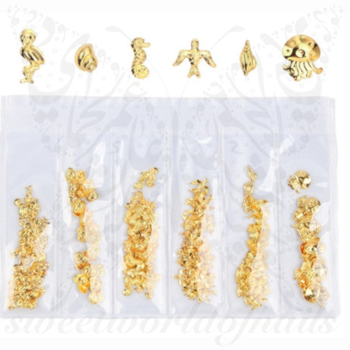 6 designs in one Bag Summer Metallic Gold 3D Nail Art Decoration