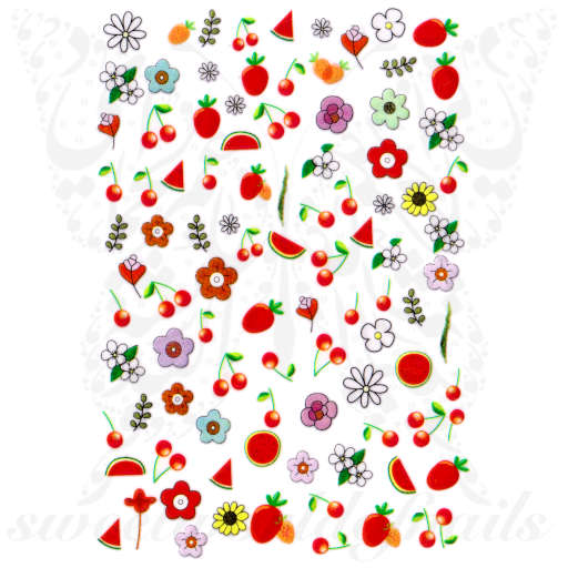 Summer Fruits Nail Art Cherries Watermelon Nail Stickers