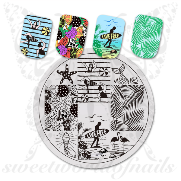 Summer Nail Art Beach Vacation Stamping Plate