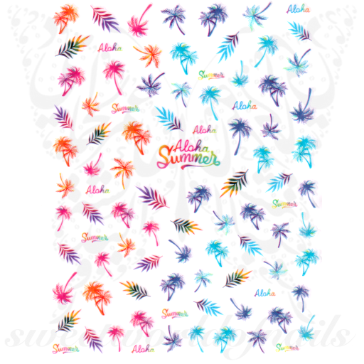 Summer Nail Art Palm trees Leaves Nail Stickers