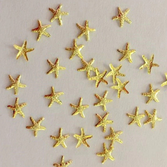 3D Summer Nail Art Gold Silver Starfish Nail Charms Decoration