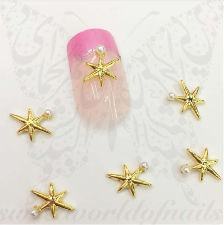 3D Summer Nail Art Gold Starfish pearl Charms Resins Studs