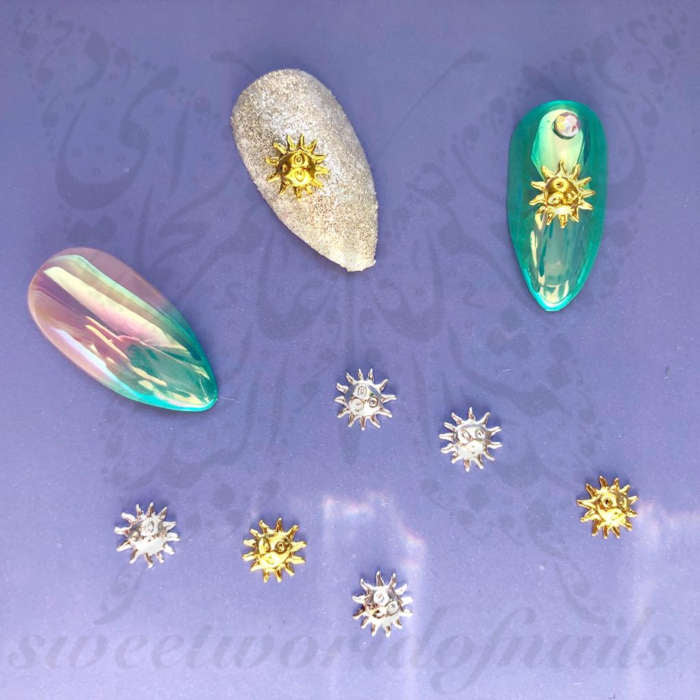 3D Summer Nail Art Gold Silver Sun Nail Charms Decoration