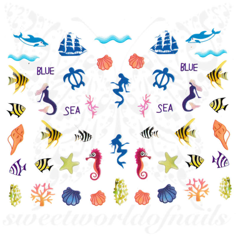 Summer nails sea life mermaid fish nail Stickers
