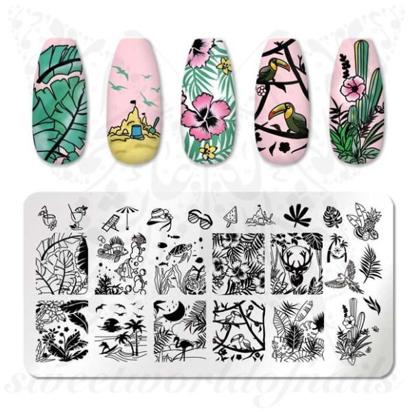 Summer Nails Beach Vacation Nail Art Stamping Plate