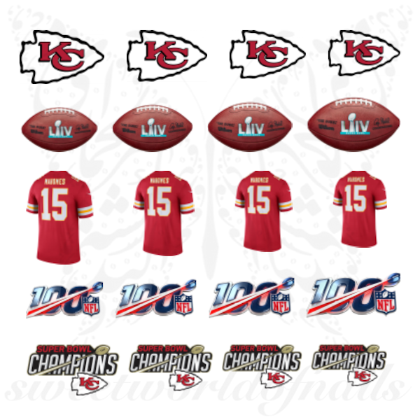 super bowl champions Nails Kansas City Chiefs Mahomes Water Decals