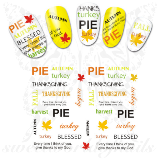 Thanksgiving Nails Blessed Pie Stickers