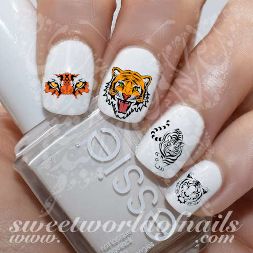 Tiger Nail Art Water Decals