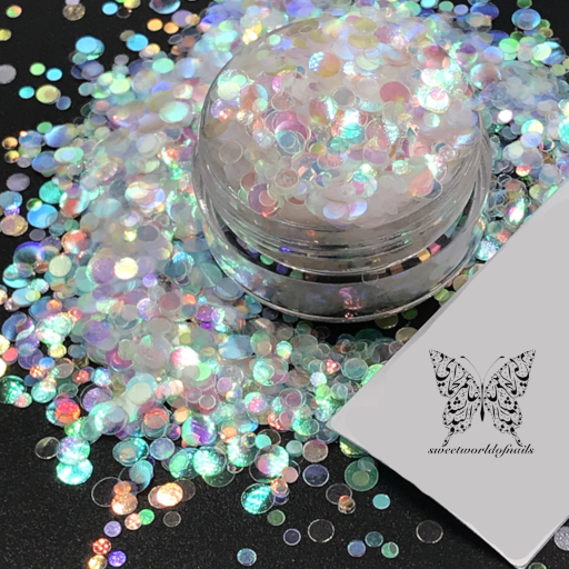 White 3D effect Round Shape Nail Decoration Confetti Glitter
