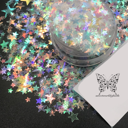 White 3D effect Star Nail Decoration Confetti Glitter
