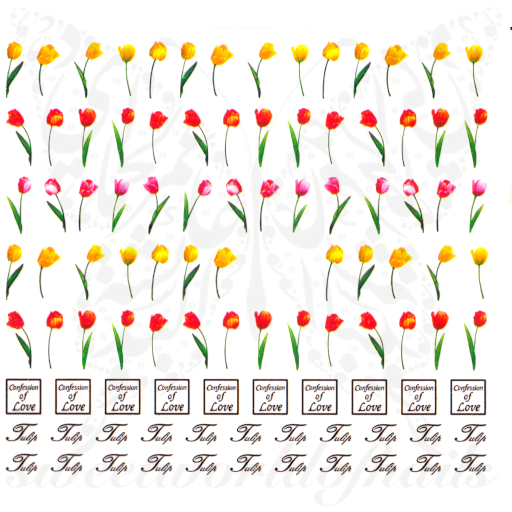 Tulip Nail Art Flower Nail Water Decals