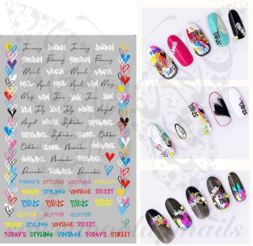 Valentine's Day Nail Art Colorful Heart Nail Stickers