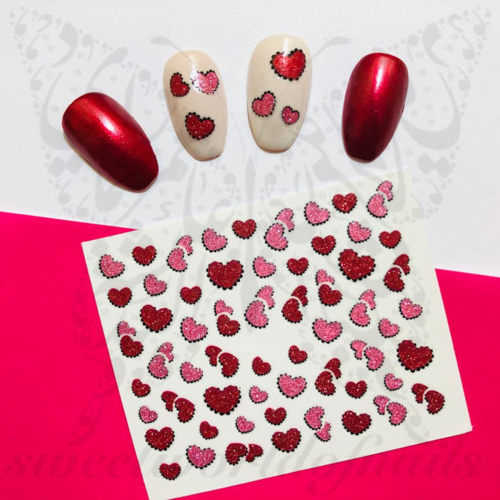 Valentine´s Day Nail Stickers Red Pink Glittery Hearts