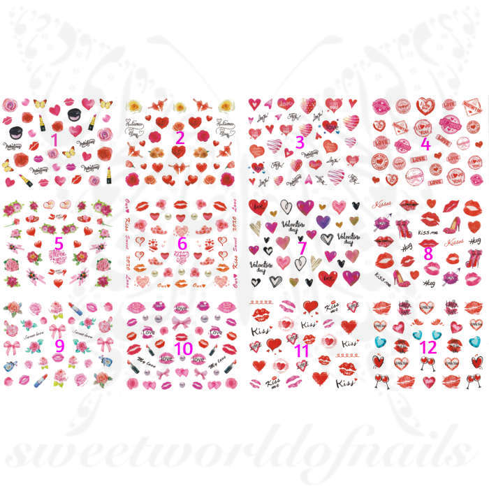 Valentine´s Day Nails High Roses and Hearts Water Decals